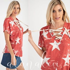 HELENA Star print lace up Top